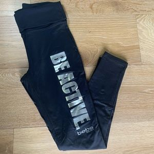 Bebe sport fold over active wear leggings